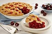 Lattice Cherry Pie with Slice Removed, Fresh Cherries