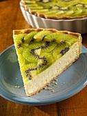 Slice of Kiwi-Ricotta Cheese Tart