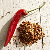 Red Chili Pepper with Dried Pepper Flakes