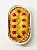 Pineapple Brown Sugar Galette with Maraschino Cherries; White Background