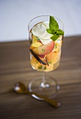 Fruit Salad in a Stem Glass with Mint Garnish