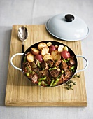 Lamb Stew with Potatoes in a Pot