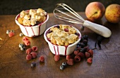 Individual Peach and Berry Cobblers
