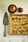Whole Pear Tart with Server; From Above