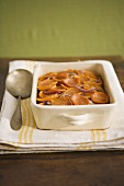 Sweet Potato and Red Onion Gratin in Baking Dish