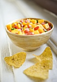 Bowl of Tomato Mango Salsa with Chips