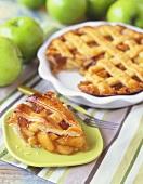 Slice of Apple Pie with Lattice Top, Whole Pie and Granny Smith Apples