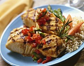 Grilled Fish with Fresh Salsa and Rice