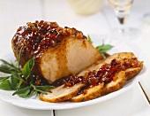 Partially Sliced Pork Roast with Chutney