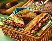 Three Assorted Sandwiches in a Picnic Basket