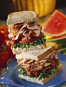 Turkey BLT Sandwich; Halved and Stacked