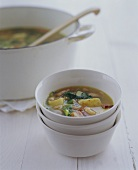 Vegetable Soup in Stacked Bowl; Soup Pot
