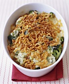 Broccoli Casserole Topped with Fried Onions
