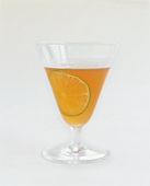 Cocktail with Lime Slice on White Background