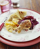 Chicken Drumstick with Golden Beets