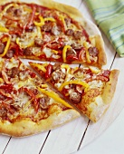 Sausage and Pepper Pizza; Sliced