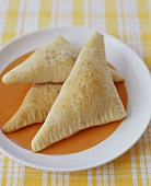 Filled Pastry Pockets on a Plate