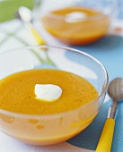 Bowl of Pumpkin Soup with Cream Dollop