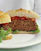 Hamburger with Tomato and Lettuce; Halved