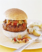 Grilled Turkey Burger with Salsa; Potatoes