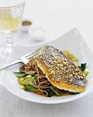 Sesame Fish Fillet Over Soba Noodles