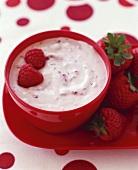 Strawberry Yogurt with Fresh Strawberries