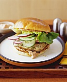 Salmon Burger with Radish and Cucumber on a Bun