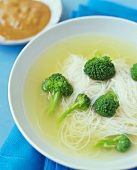 Bowl of Rice Noodle and Broccoli Soup