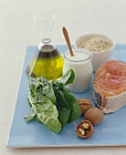 Fresh Ingredients (Salmon, Walnuts and olive Oil)