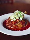 Chicken with Pomegranate Sauce and Slaw