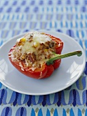 Stuffed Red Bell Pepper on a Plate