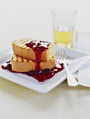 Two Slices of Grilled Pound Cake with Berry Sauce