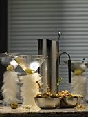 Martinis in glasses decorated with feathers