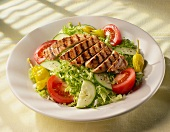 Grilled Chicken Salad on White Plate