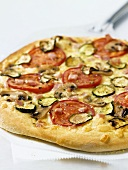 Vegetable and Canadian Bacon Pizza; Whole