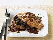 Portobello Mushroom Topped with Turkey Cutlet and Onions