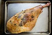 Roast Leg of Lamb with Rosemary in Roasting Pan