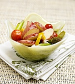 Red Potato Champagne Salad with Asparagus, Tomato and Peppers