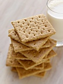 Stack of Graham Crackers with a Glass of Milk
