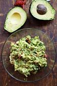 Bowl of Homemade Guacamole with Fresh Avocado