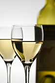 Two Glasses of White Wine; Bottle