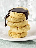 Stack of Cookies Drizzled with Chocolate Sauce