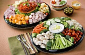 Two Party Platters;Vegetable Tray and Cold Cut Tray