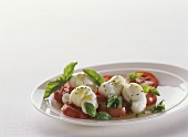 Caprese Salad with Roma Tomatoes and Knots of Mozzarella on White Plate