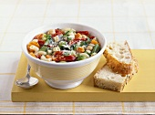 Minestrone (Vegetable soup with white bread, Italy)