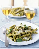 Plate of Rigatoni with Mint Sauce and White Wine