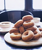 Sugar Donuts on Table with Coffee