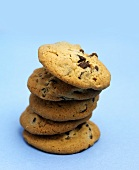 Stack of Chocolate Chip Cookies on Blue