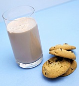 Chocolate Chip Cookies with a Glass of Chocolate Milk