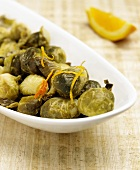Brussels Sprouts with Orange Zest in a Serving Dish